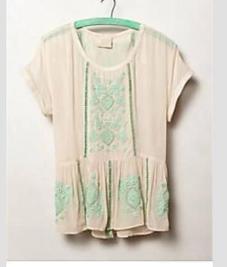 shirt mint embroidery peplum top short sleeve