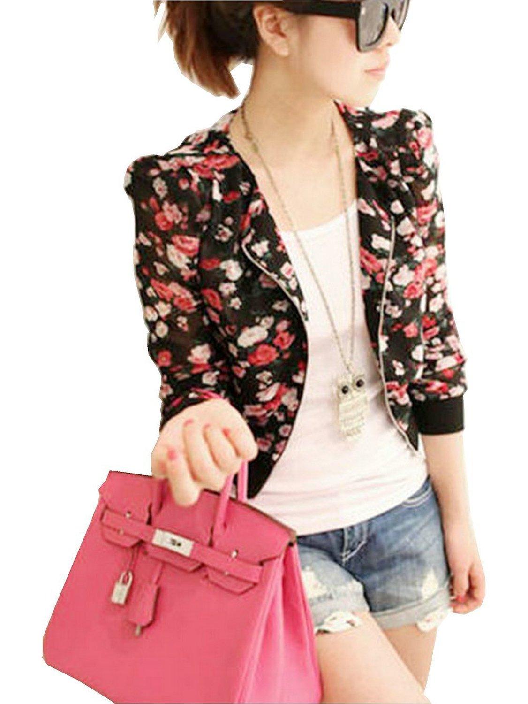 Fashion Long Sleeve Floral Print Shrug Short Jacket Blouse (Black ...