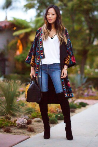 shoes white t-shirt skinny jeans colorful kimono knee high boots black bag blogger