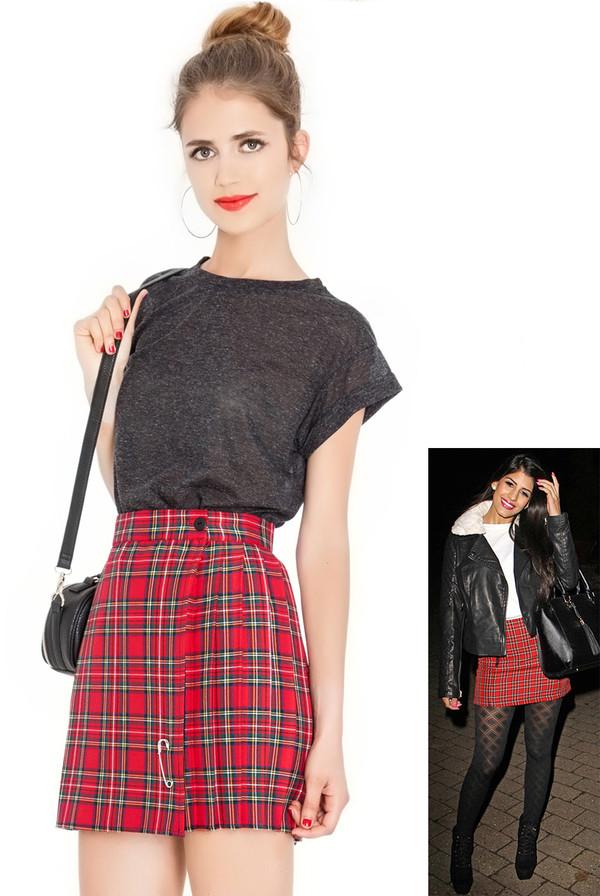 skirt tartan mini skirt office outfits jasmin walia kilt pleated skirt towie