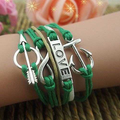 Arrow infinity love anchor antique silver plated charm bracelets&bangles indian jewelry set wedding metal bracelets for women