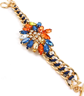 jewels,bracelets,jewelry,gemstone,gems,bold color,rhinestone bracelet,gold chain,gold chain bracelet,Toggle