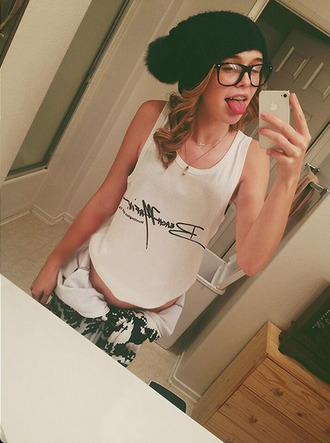 tank top top t-shirt acacia brinley band t-shirt hat pants jewels black beanie beanie cute trendy tumblr black hipster
