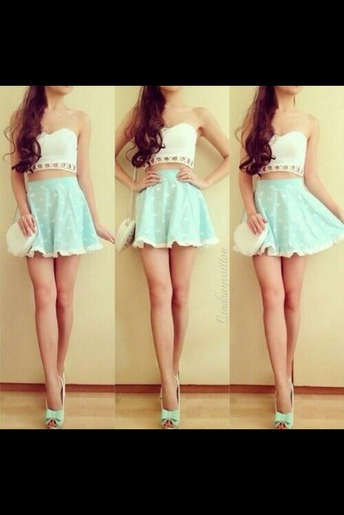skirt skater skirt teal skater mint ruffles high waisted skirt