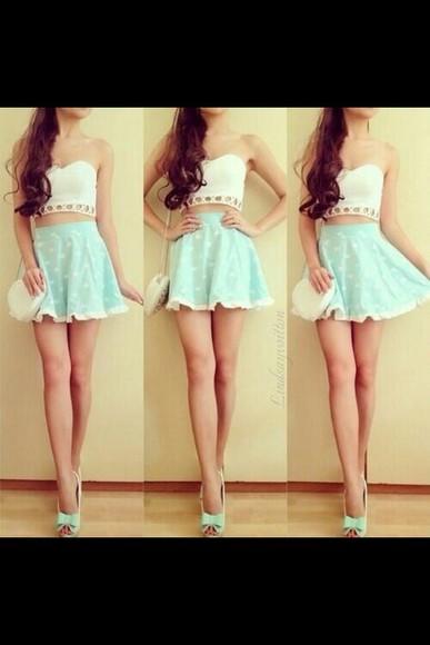 skirt skater skirt teal mint skater ruffles high waisted skirt