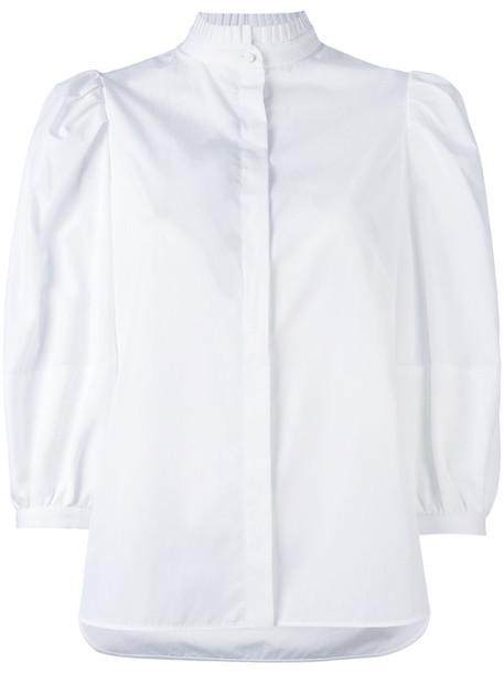 Alexander McQueen - popelin shirt - women - Cotton - 44, White, Cotton