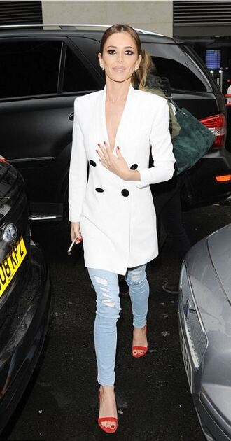 jeans blazer cheryl cole sandals shoes red suede sandals