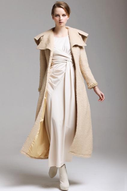 Light Camel Long Gorgeous Woolen Coat with Unique Turndown Collar - OASAP.com