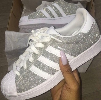 shoes grey glitter adidas silver sneakers