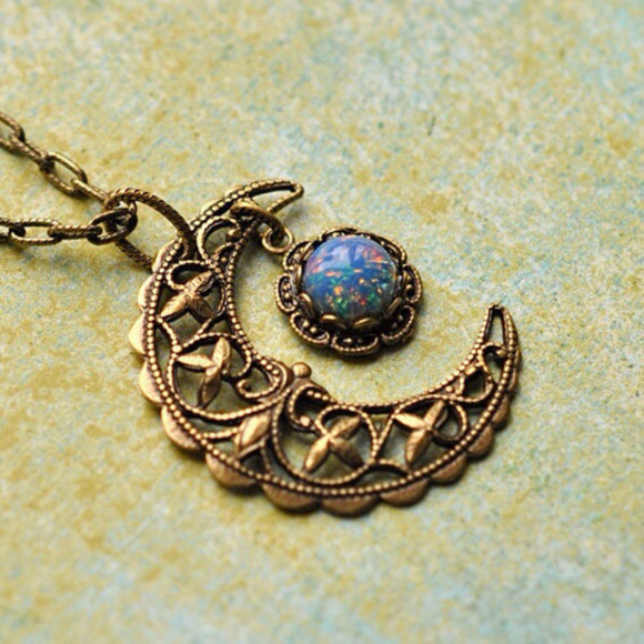 casual jewels boho gypsy necklace moon metal brass patterened grunge girly hipster