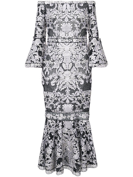 Marchesa Notte dress midi dress embroidered women midi lace black