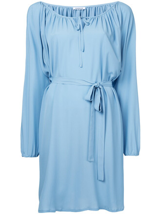 dress belted dress long women blue silk