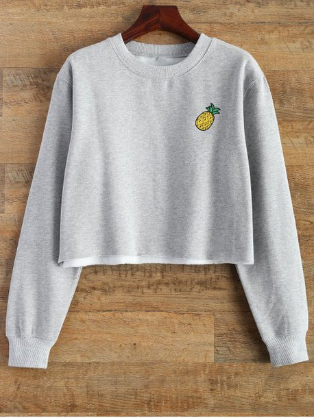 sweater grey pineapple print casual