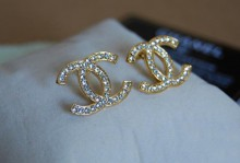 Classic Chanel Diamonds CC Logo Stud Earrings Gold - jishopping