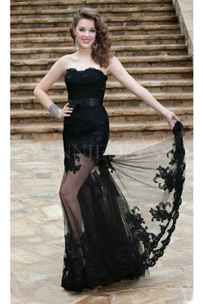 82a0b62781f11 dress black dress see through see through dress lace dress black lace dress  black prom dress