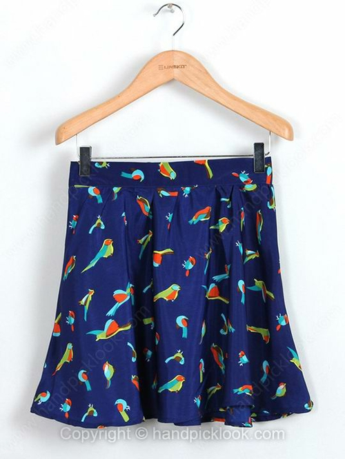 Royal Blue Pleated Birds Print Chiffon Skirt - HandpickLook.com