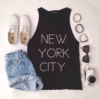 t-shirt black new york city denim white shoes sunglasses shorts jewels