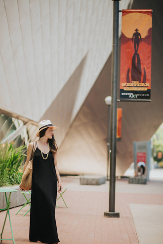 here & now | a nashville style blog blogger bag hat make-up basket bag raffia bag maxi dress summer outfits black dress