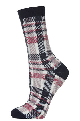 Checked ankle socks