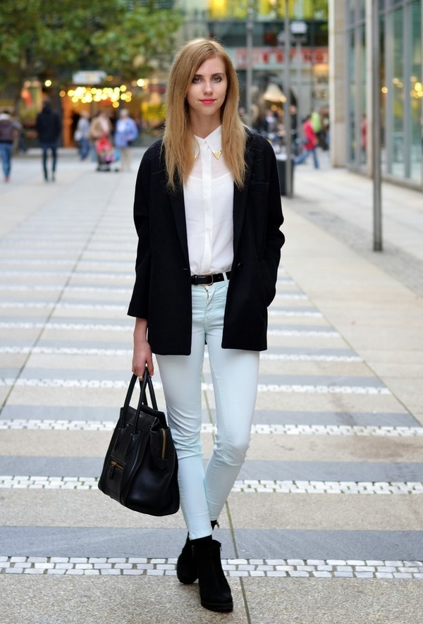 vogue haus blouse jeans belt coat shoes bag jewels