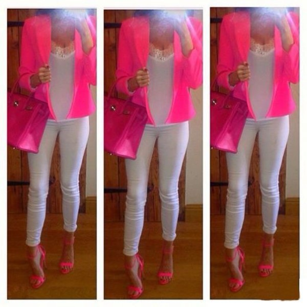 jacket neon shoes pink white