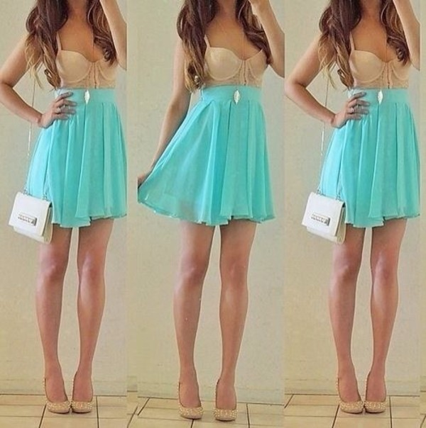 dress blue dress shoes tank top mint nude short dress skirt ariana grande