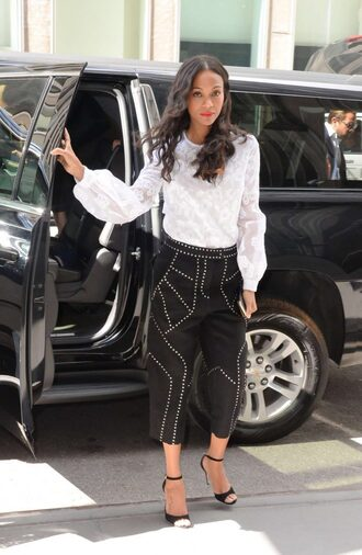 pants blouse top zoe saldana sandals spring outfits black and white