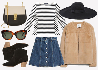 jane's sneak peak blogger hat ankle boots denim skirt faux fur jacket cat eye striped top bag sunglasses shoes top skirt jacket