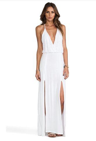 dress white maci lace deep v neck v neck long slit whitedress white dress maxi dress long dress