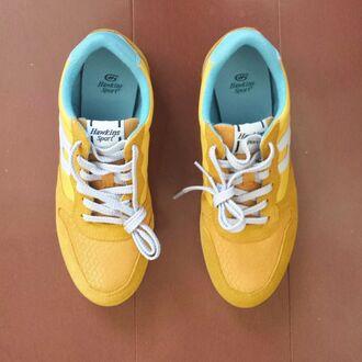 shoes new balance mustard basket women yellow hawkins sportswear style streetwear light blue blue run new balance sneakers
