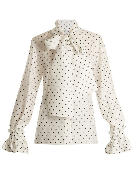 LOEWE blouse print silk white black top