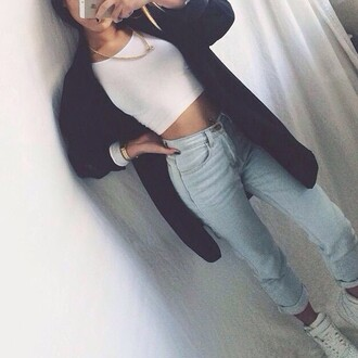 jeans pants blue dress cool cute style high waisted shorts high waisted jeans jacket tank top cardigan