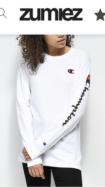 shirt champion long sleeves white zumiez