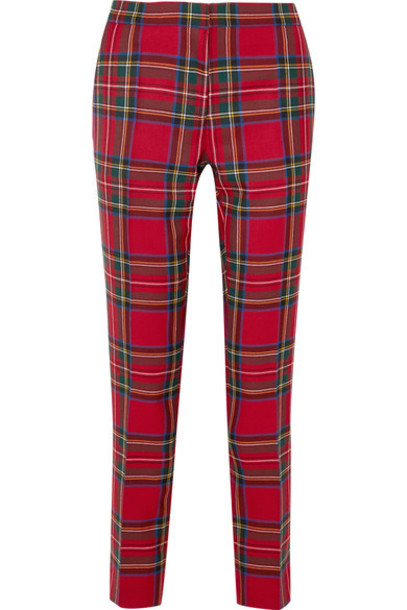 pants wool tartan red