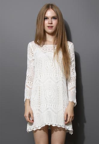 dress mesh knit crochet white