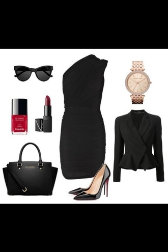 jacket black dress heels jewels jewelry bracelets party dress designers watch michael kors high heels