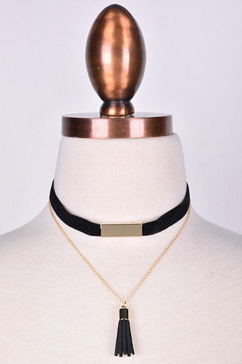 Velvet & Tassel Layered Choker Necklace Set