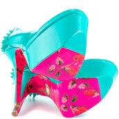 shoes,high heels,neon,betsey johnson,gginger - turquoise pat,platform shoes