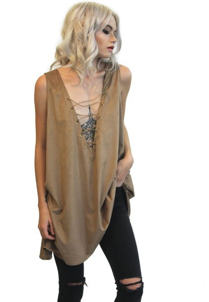 top nude beige trendy fashion style lace up cool summer spring free vibrationz