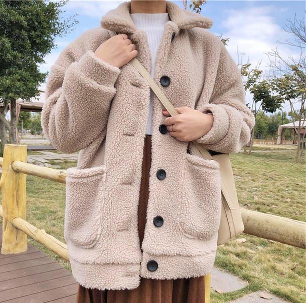 coat girly sherpa button up fur fur coat fur jacket tumblr cute comfy