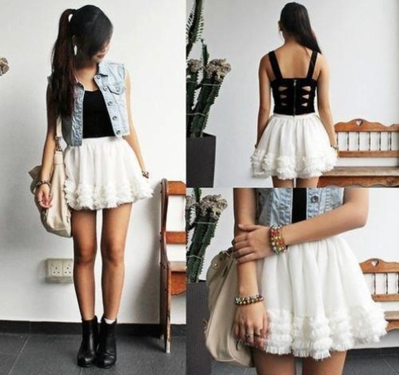 shirt white skirt black top vest blue jacket skirt jacket dress cute clothes tank top crop tops black must have top black tank top white boots bag tutu corset top corset denim vest braclets