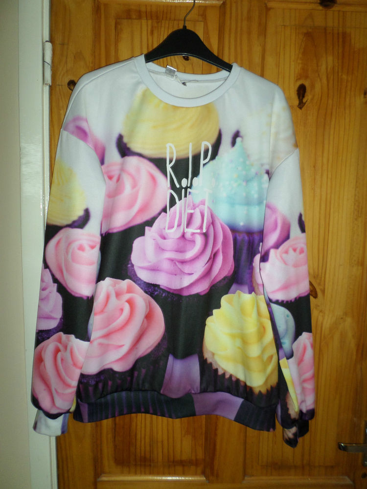MR GUGU & MISS GO RETRO KITSCH UNIQUE CELEB R.I.P DIET CUPCAKE JUMPER SIZE L | eBay
