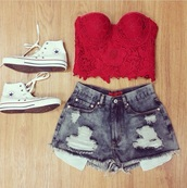 top,red lace,red top,crop tops,bandeau top,shirt,shorts