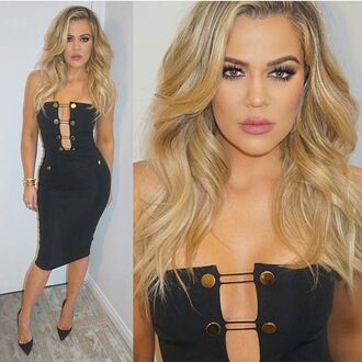 dress mischievous socialite strapless black tube low cut plunging bodycon bandage midi knee length military style cut-out buttons lace up black and gold sexy khloe kardashian