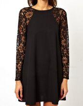 dress,lace,black,shift