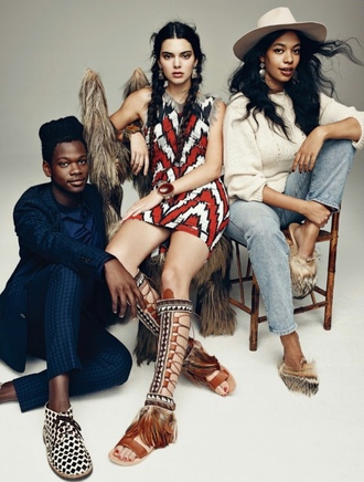 shoes gladiators kendall jenner editorial dress native american printed dress our favorite accessories 2015