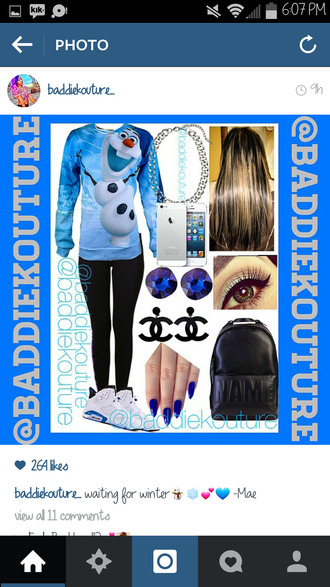 olaf olaf crewneck olaf sweater frozen outfit outfit idea baddiekouture_ bag jewels shoes