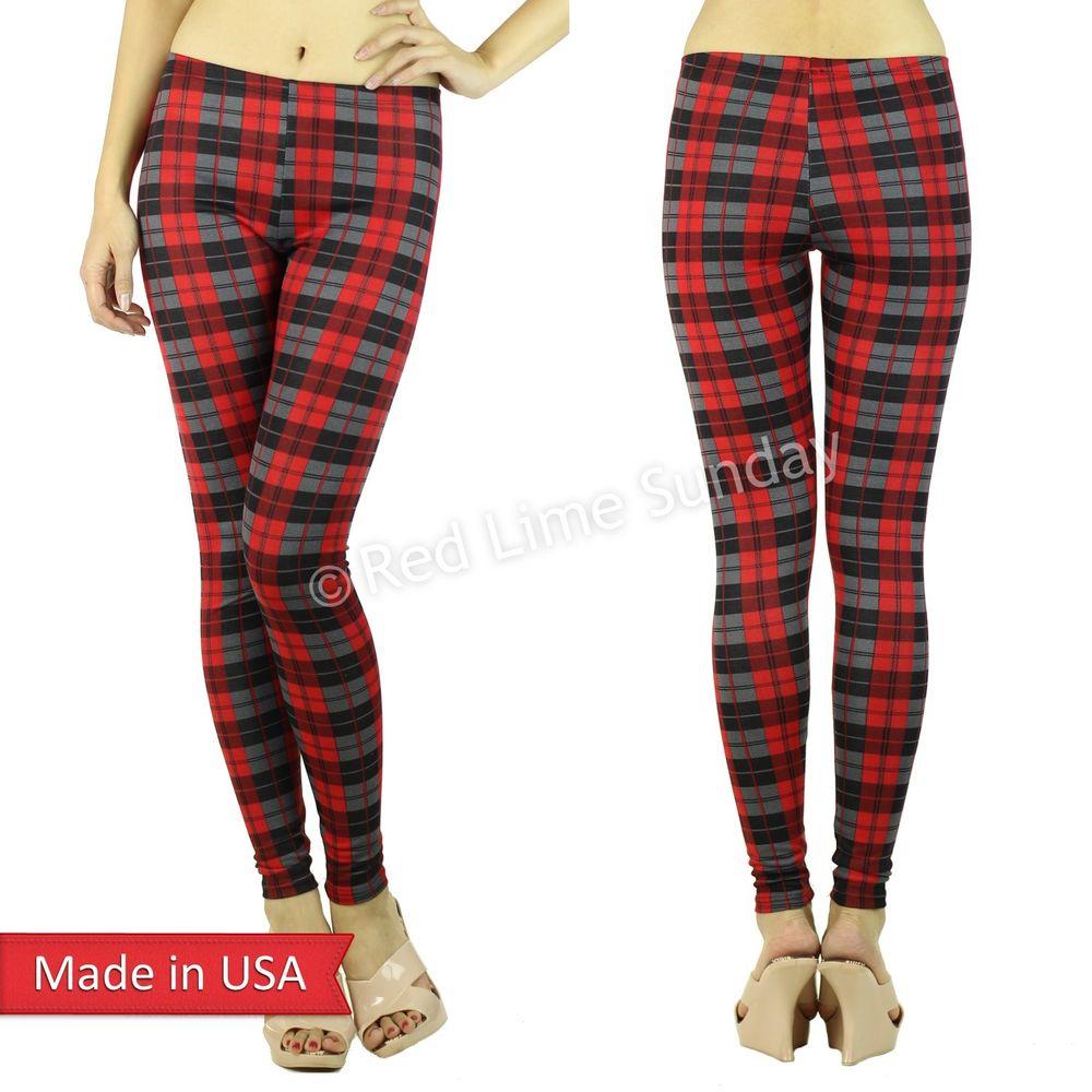 Women new fashion red black gray plaid tartan check skinny leggings pants usa