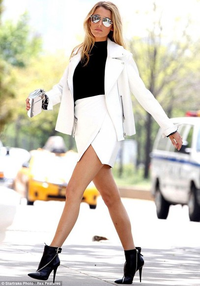 coat skirt white jacket black shirt blake lively white skirt sunglasses black ankle boots shoes