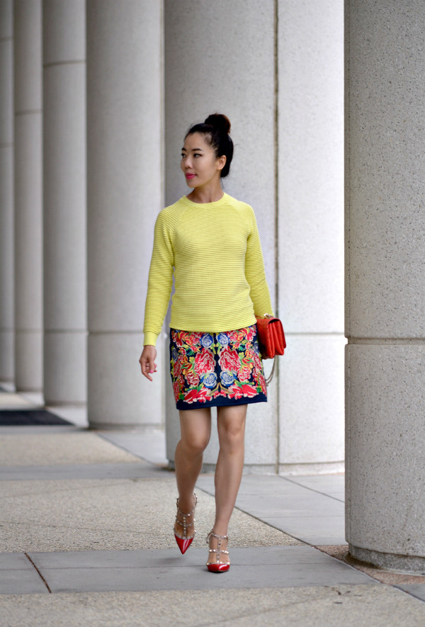 hallie daily skirt shoes bag embroidered denim skirt embroidered skirt embroidered printed skirt mini skirt sweater yellow sweater streetstyle heels high heels red heels Valentino red bag spring outfits
